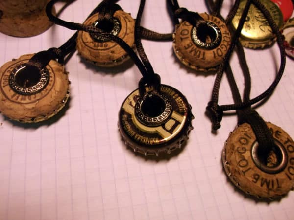 Bottle Caps & Champagne Corks Into Necklace Recycled Cork Upcycled Jewelry Ideas