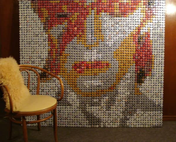 David Bowie Mosaic From Bottle Caps Recycled Art