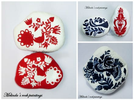 Hungarian Folk Art Motifs Painted On Stones