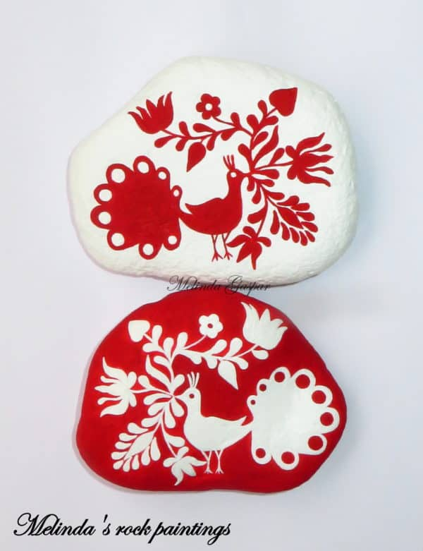Hungarian Folk Art Motifs Painted On Stones Recycled Art
