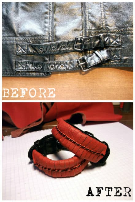 Old Faux Leather Jacket Into Bracelets