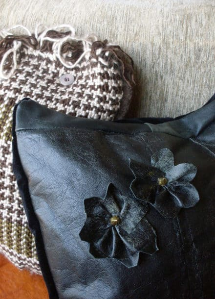 Old Leather Jacket Into Cushion