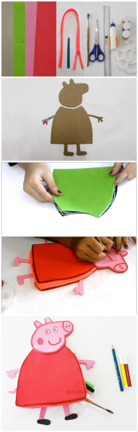 Recycled Kid's Craft: DIY Peppa Pig Pencil Pouch
