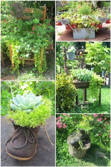 Shoes, Chairs & Tool Boxes: Everything Could Be Reused into Planters / Idée De Bac à Fleurs Pour Le Jardin