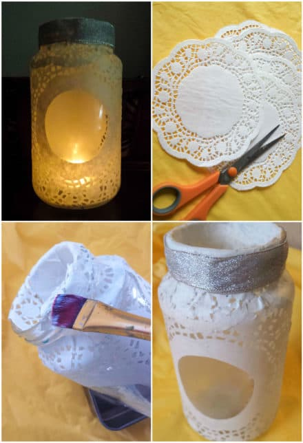 Doily Glass Jar Luminary