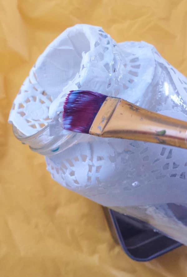 Doily Glass Jar Luminary Do-It-Yourself Ideas Recycled Glass