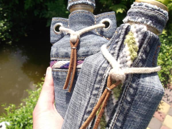 Flasks From Glass Bottles, Old Jeans And Yarn Scraps Accessories