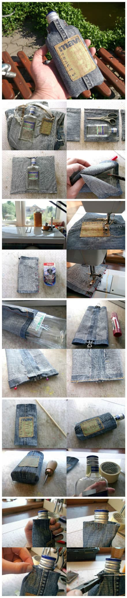 How To Make Flask From Your Favourite But Old Jeans And A Glass Bottle