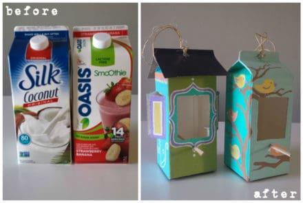 Milk & Juice Cartons Into Bird Feeders