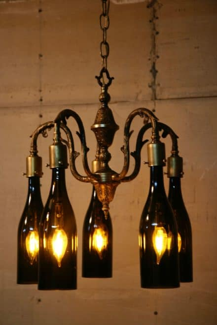 Recycled Antique Chandelier Using Wine Bottles As Globes