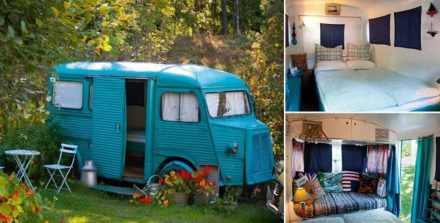 1968 Citroen Hy Van Transformed Into Guest Bedroom Cabin