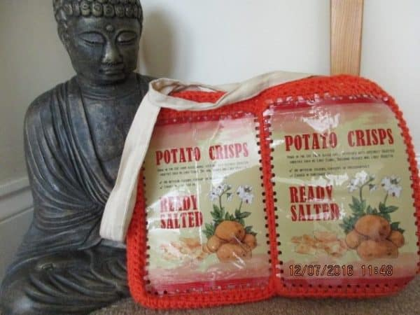 Potato Crisp Packets Turned into a Shopping Bag Recycled Packaging