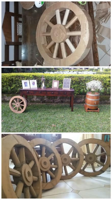 Wedding Wheel Decor From Recycled Cardboard
