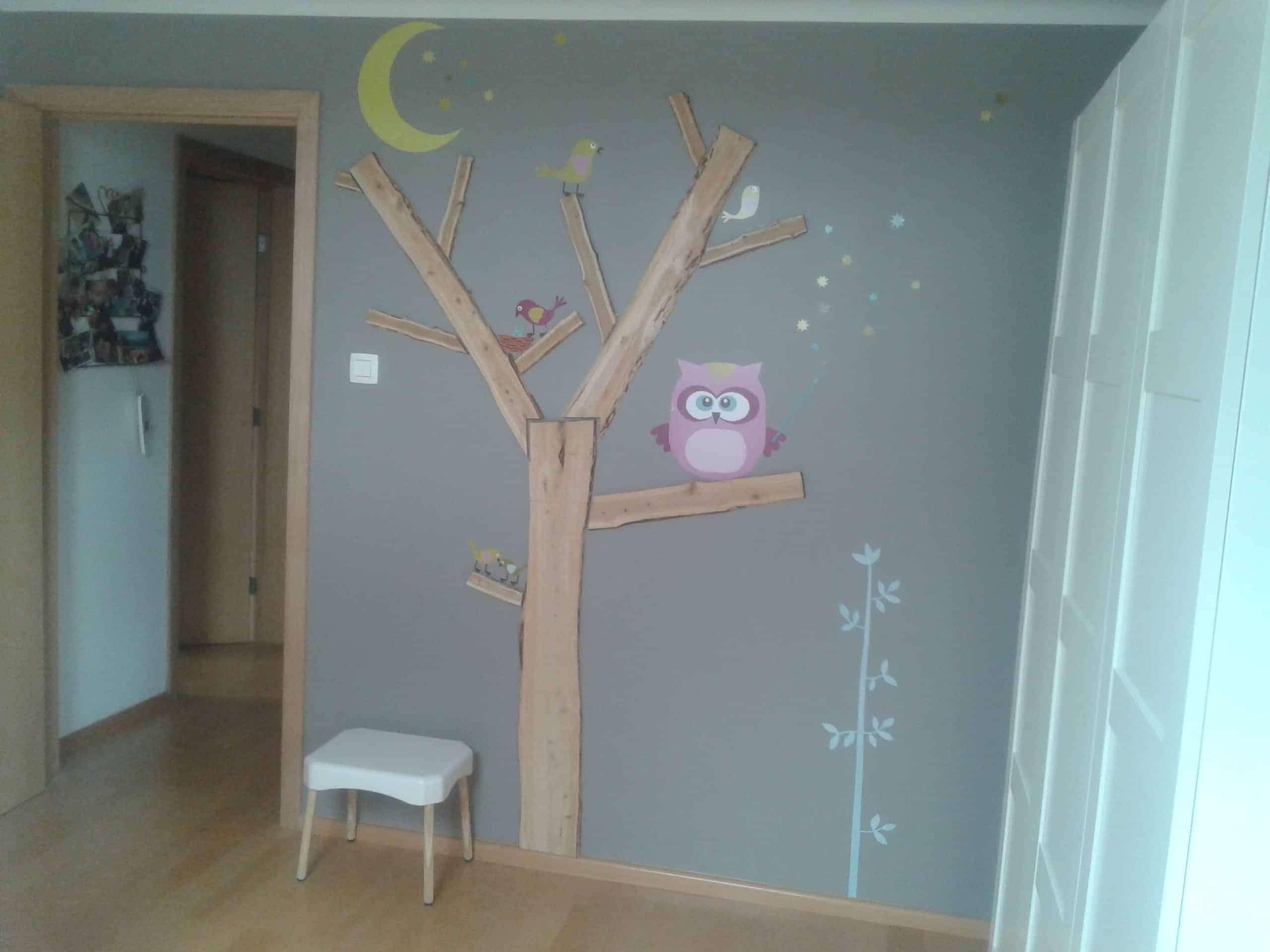 D coration arbre pour chambre b b fille tree wall d cor for my daughter bedroom recycled for Deco chambre bebe mansardee 2
