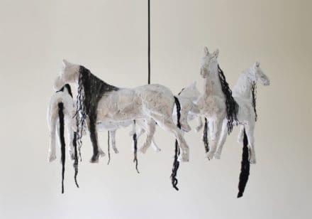 Horse Paper Mache Pendant Lamp