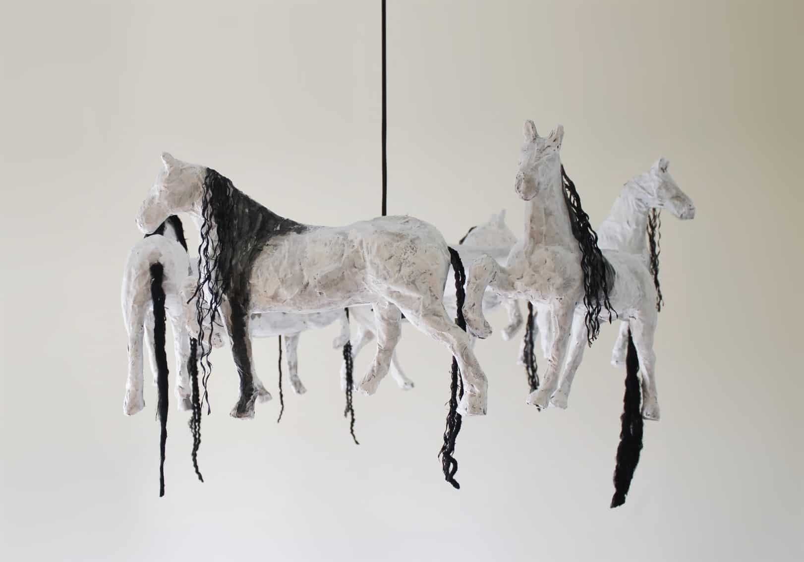 horse paper mache pendant lamp recycled ideas recyclart