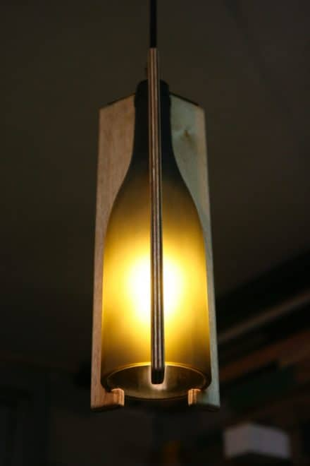 Recycled Wine Bottle Hanging Light