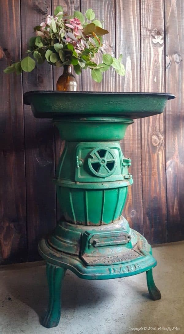 Recycling A Cast Iron Stove Into A Side Table Recycling Metal