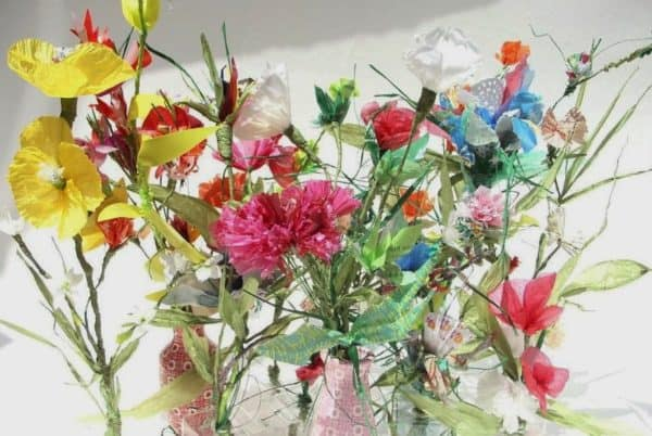 Rek: Upcycled Newspaper Into Flowers Recycling Paper & Books