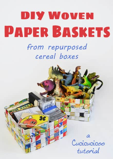 Cereal Box Woven Basket
