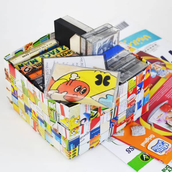 Cereal Box Woven Basket Recycling Paper & Books