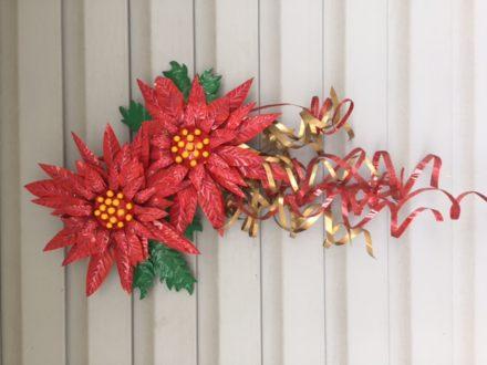 Aluminum Can Poinsettia Art - Door Hanging