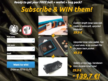 Win a Felvarrom Recycled Innertube Wallet, Belt & Toiletry Bag