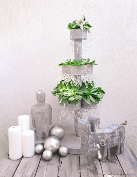 Recycled Succulent Tin Can Christmas Tree