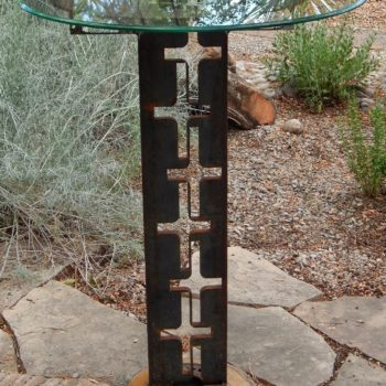 Cross Bar Height Table From Recycled Metal