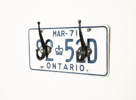 License Plate Coat Rack