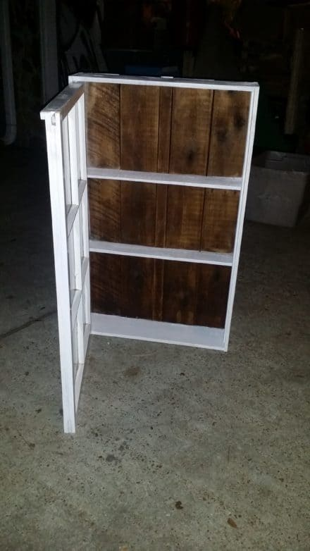 Upcycled Windows & Pallet Wood into Bathroom Cabinet
