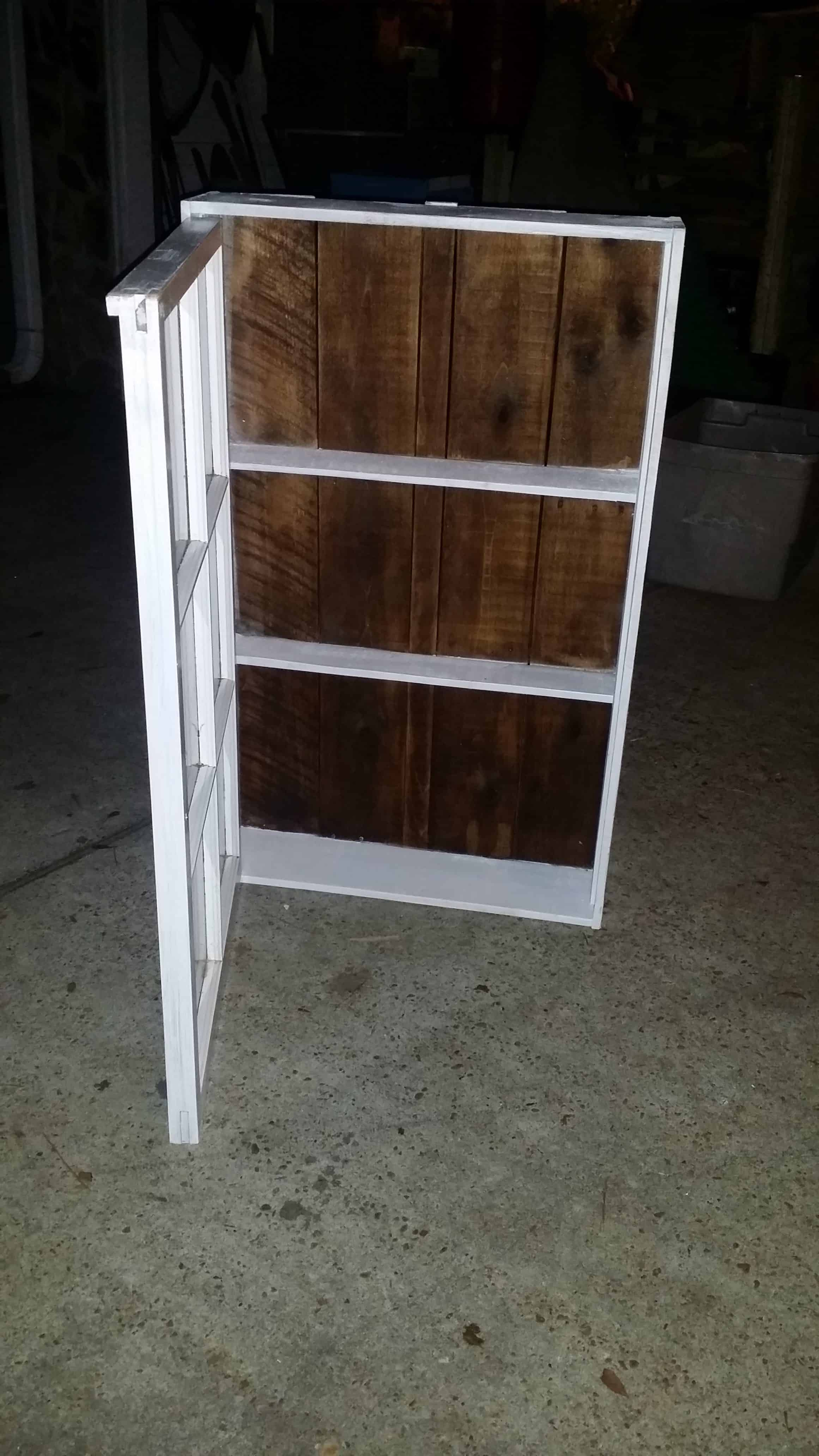 Upcycled Windows & Pallet Wood Into Bathroom Cabinet • Recycled . Full resolution  image, nominally Width 2322 Height 4128 pixels, image with #5D4734.