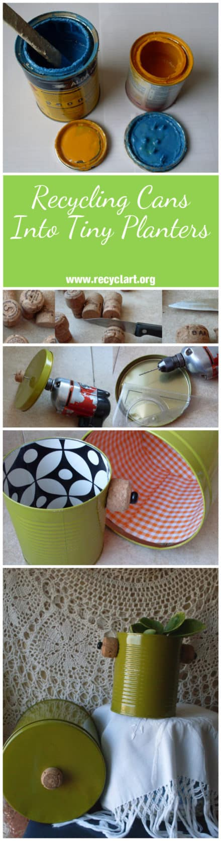 Recycling Cans Into Tiny Planters / Reciclado De Latas