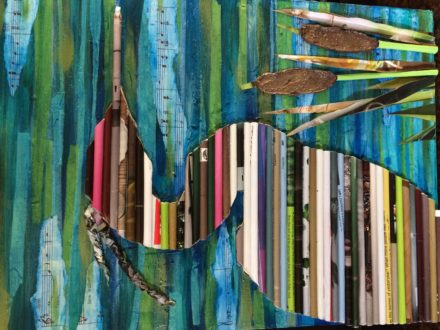 Blue Heron Upcycled Paper Wall Art