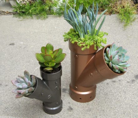 Plastic Plumbing Planters Have Steampunk Feel