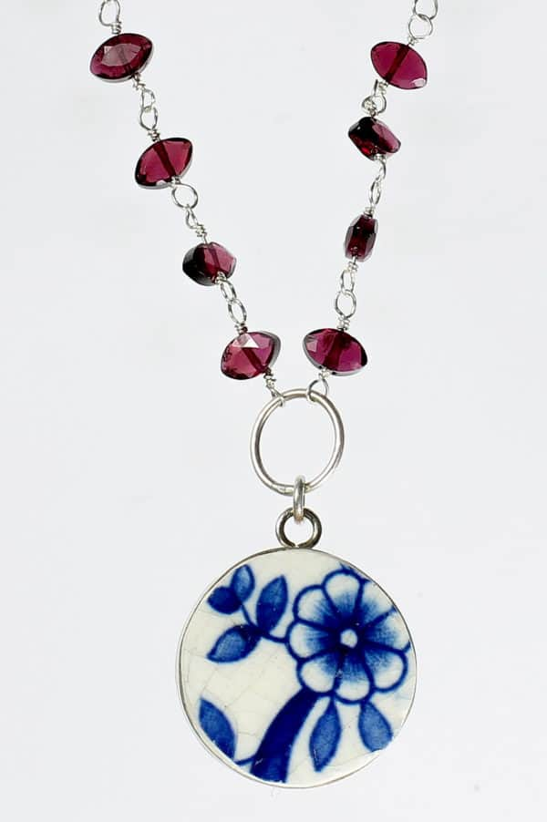 Pottery Shard Jewelry – Bezeled Flower Pottery Shard Garnet Necklace Upcycled Jewelry Ideas
