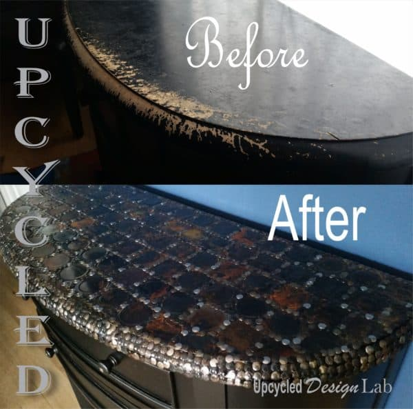 Upcycled Tin Can Lid Table Top Cover Up - Episode 4 of Dogs Vs Cats Recycled Furniture