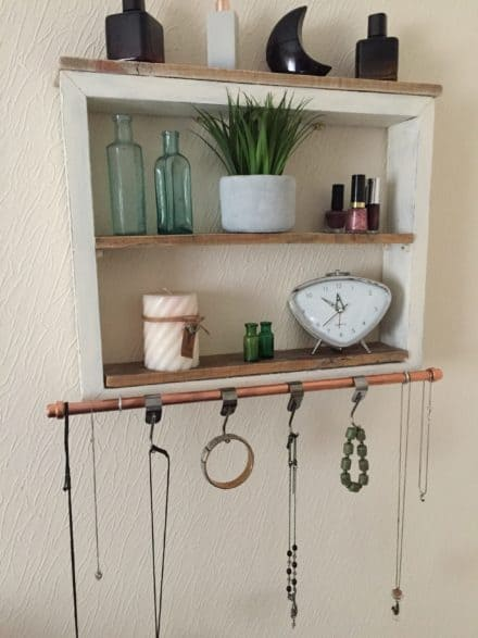 Upcycled Wood Shelving Unit Has Copper Towel Rack