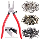 Swpeet 36 Sets 1' 25mm 3 Colors Key Fob Hardware with 1Pcs Key Fob Pliers, Glass Running Pliers Tools with Curved Jaws, Studio Running Pliers Attach Rubber Tips Perfect for Key Fob Hardware Install