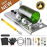 Glass Bottle Cutter Kit, Bottle Cutter DIY Machine for Cutting Round, Square, Oval Bottles and Mason Jars, Accessories Tool Kit Gloves Fixing Rubber Ring Hemp Rope Sanding Paper for DIY (Set 1)