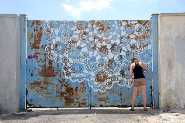 Lace Graffiti Interactive, Happening & Street Art Recycled Art