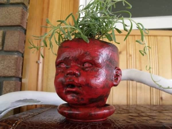 Doll Head Flowerpot Holder Wood & Organic