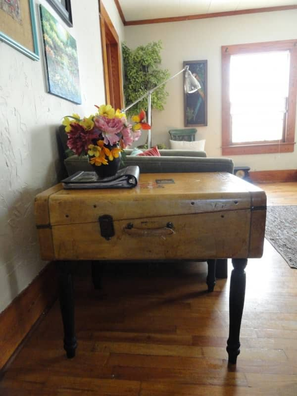 Upcycled Vintage Suitcase Into Side Table Recyclart
