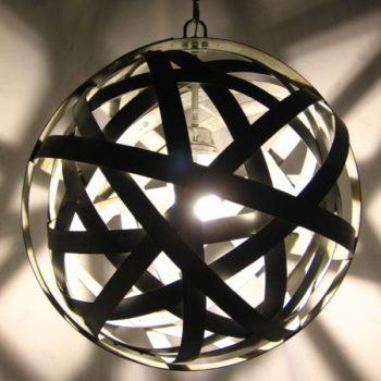 Orbits: Chandelier From Upcycled Oak Wine Barrels Metal Hoops