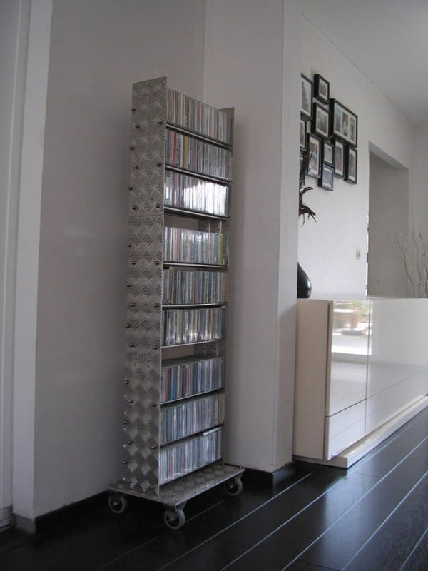 A Cd Rack From Upcycled Treadplate Recycled Furniture