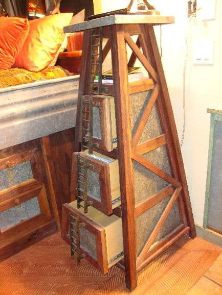 Windmill tower nightstand open