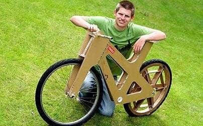 Cardboard Bike Recycled Cardboard Upcycled Bicycle Parts