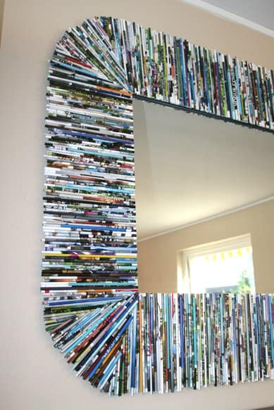 Oversized Mirror Frame with Recycled Magazines Accessories Do-It-Yourself Ideas