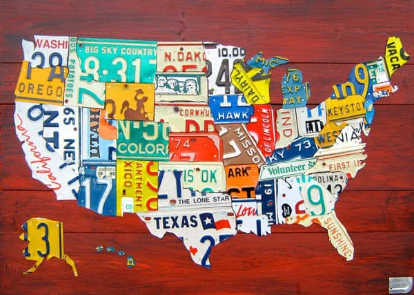 License plate art maps recyclart license plate art maps do it yourself ideas mechanic friends recycled art solutioingenieria Images