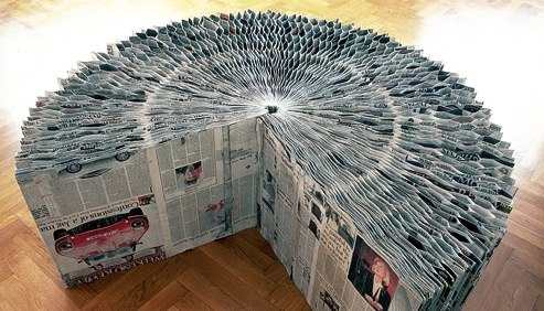 Newspaper Extendable Bench Recycled Furniture Recycling Paper & Books